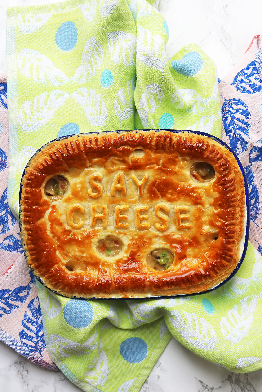 This Cheesey Vegetable Pie is packed full of carrots, leeks, mushrooms and peas.
