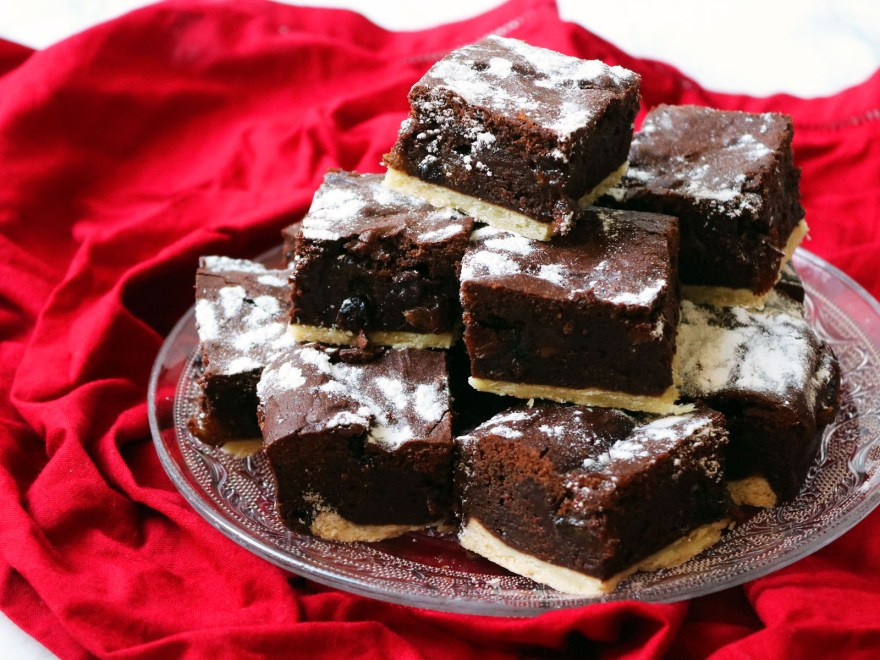 Plate of mince pie brownies