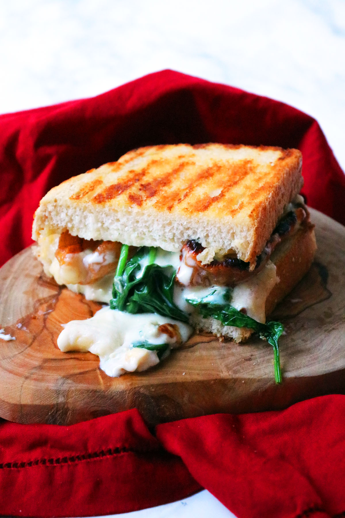 Half a spinach pear and gorgonzola toastie