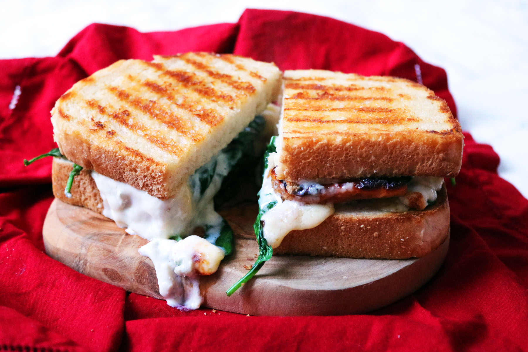 Spinach, Pear and Gorgonzola Toasted Sandwich