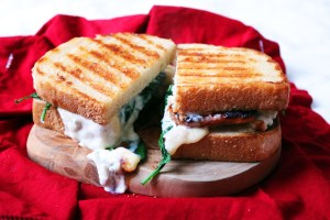 Oozing spinach pear and gorgonzola toastie