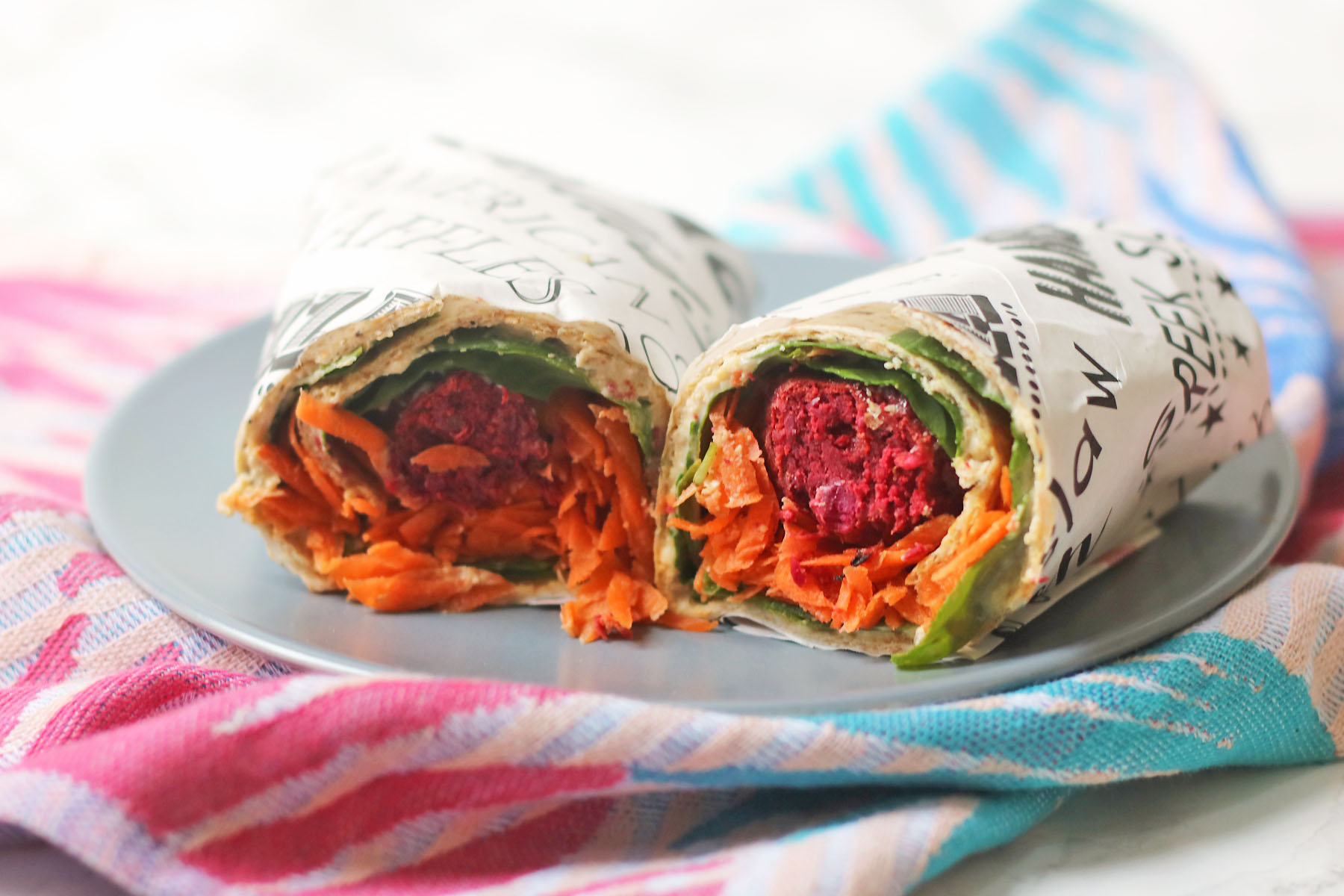 Rainbow Falafel and Hummus Wrap