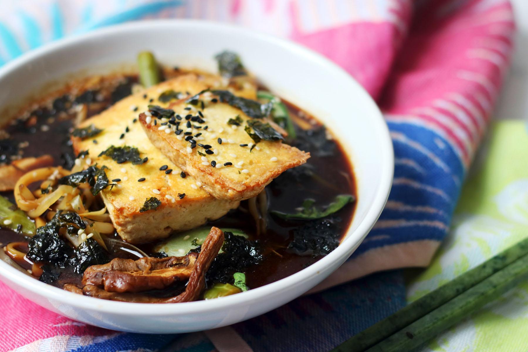 Vegan Ramen with Crispy Sesame Tofu