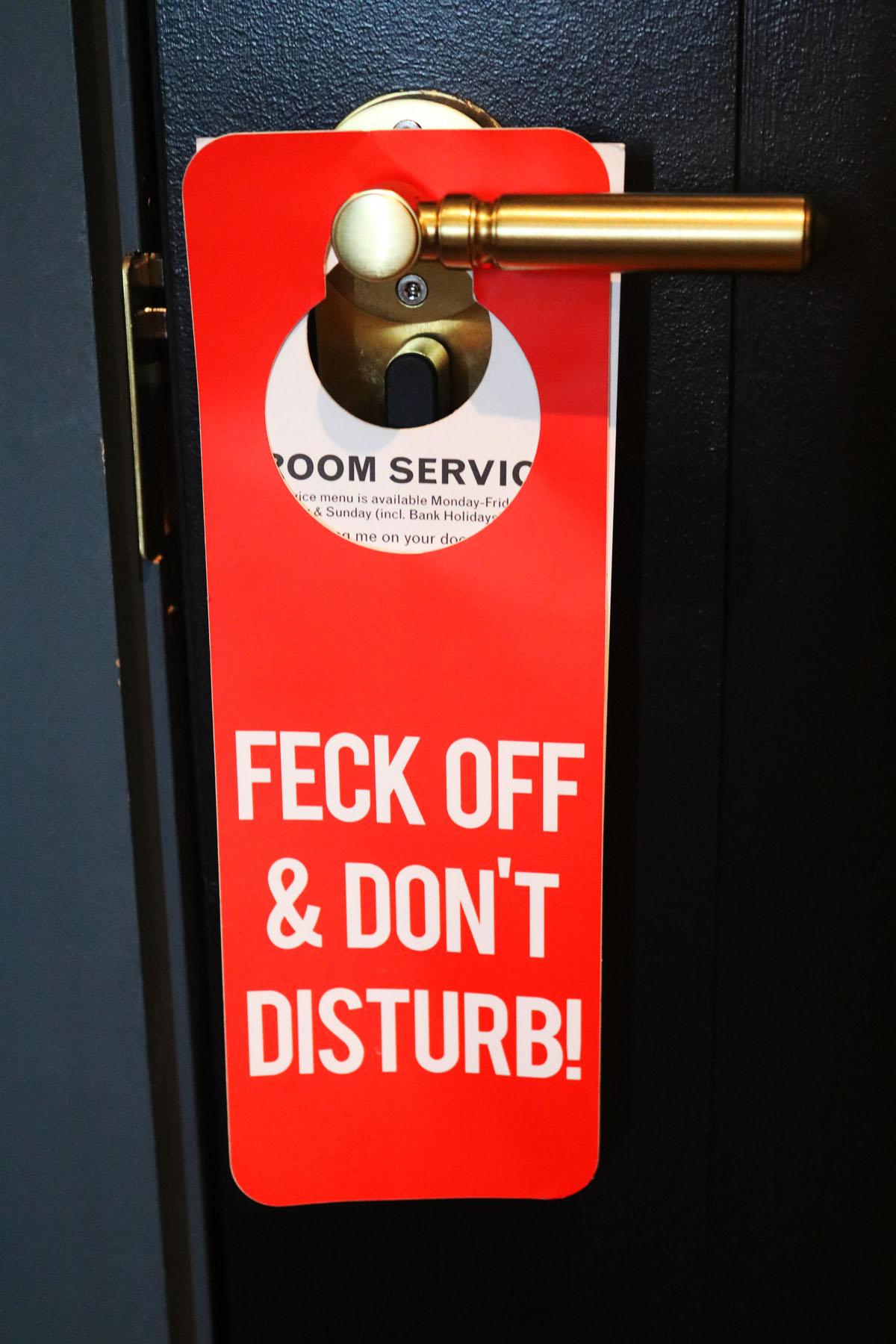 Irish Do Not Disturb Sign at The Dean Hotel Dublin