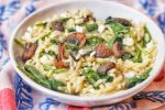 Orzo with Roasted Mushrooms and Feta
