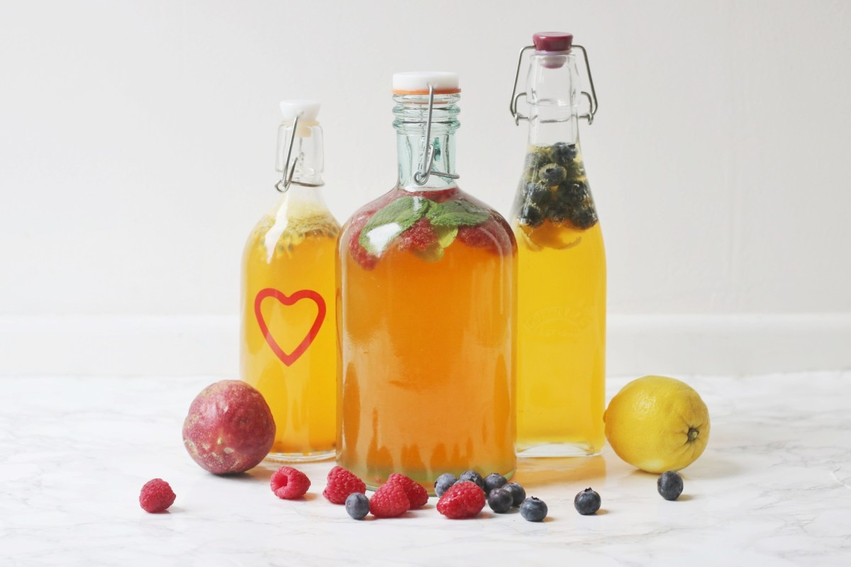 3 types of flavoured kombucha