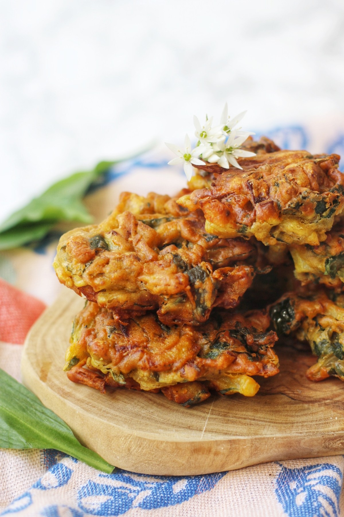 Wild Garlic Onion Bhajis decorated with wild garlic flowers