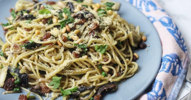 Currant, Caper and Fennel Spaghetti