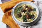 Vegan Meatball, Cavolo Nero and Cannellini Bean Soup