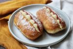 Vegan Finger Doughnuts filled with custard and jam