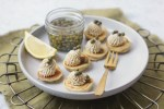 Vegan Blinis with Faux Lox and Dill Cream Cheese Spread, Capers and Lemon
