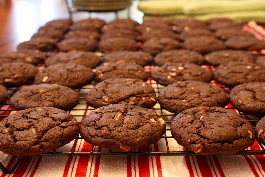 Chewy Chocolate Mint Cookies cooling on a rack closeup