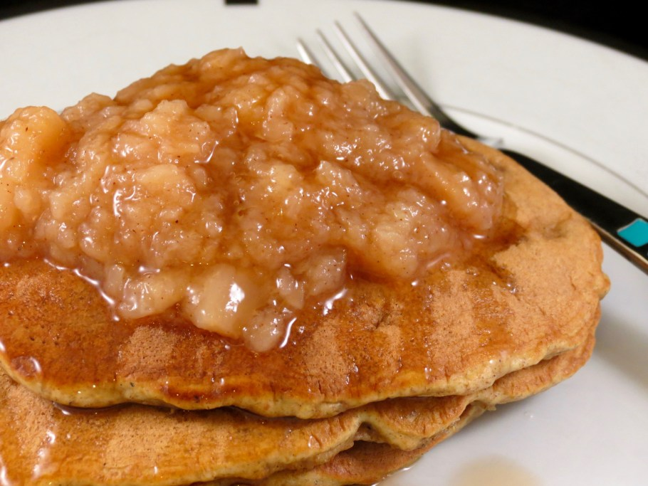 Apple Cinnamon Pancakes with applesauce and syrup