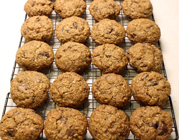 Healthy Oatmeal Raisin Cookie Cooling on a rack