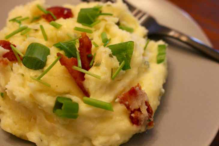Closeup of Loaded Twice Baked Potato Casserole Plated