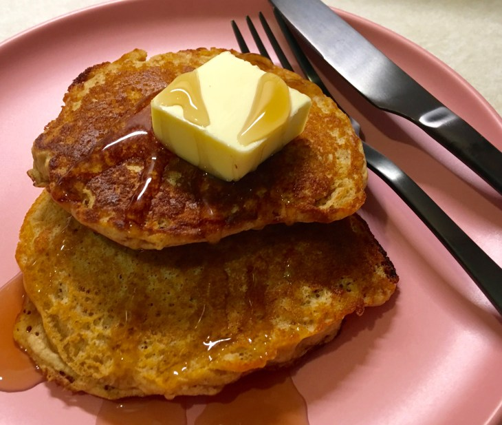 Whole Wheat Buttermilk Pancakes from toaster with syrup