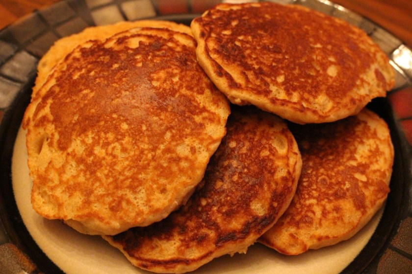 Whole Wheat Buttermilk Pancakes off the griddle