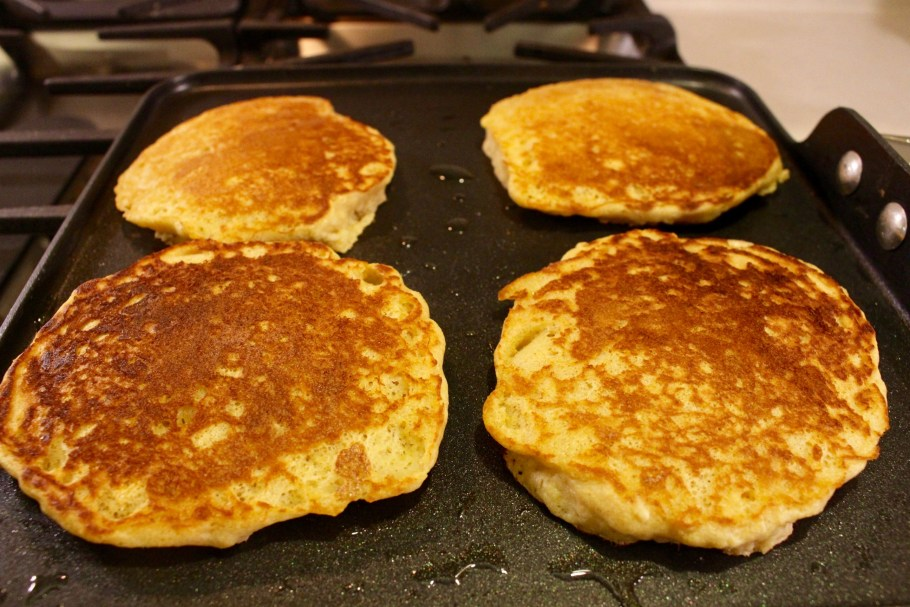 Whole Wheat Buttermilk Pancakes on griddle