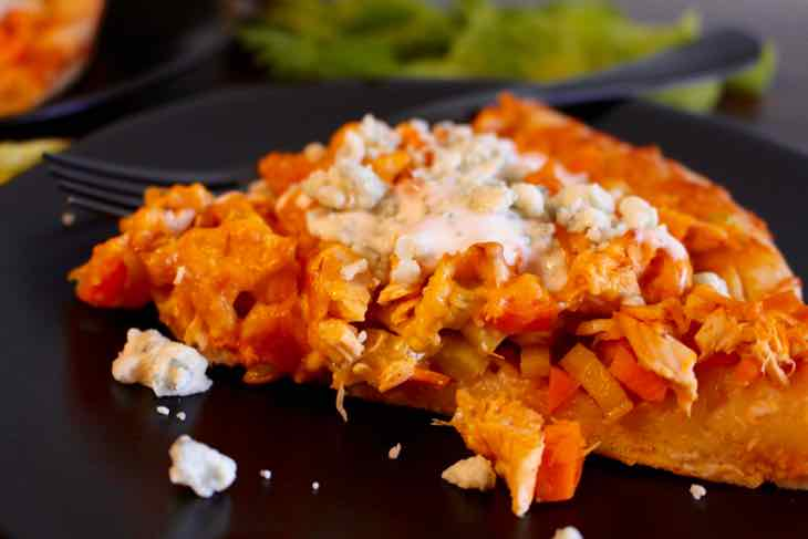 Buffalo Chicken Wing Pizza Side View