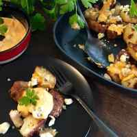 Buffalo Style Potatoes with Blue Cheese