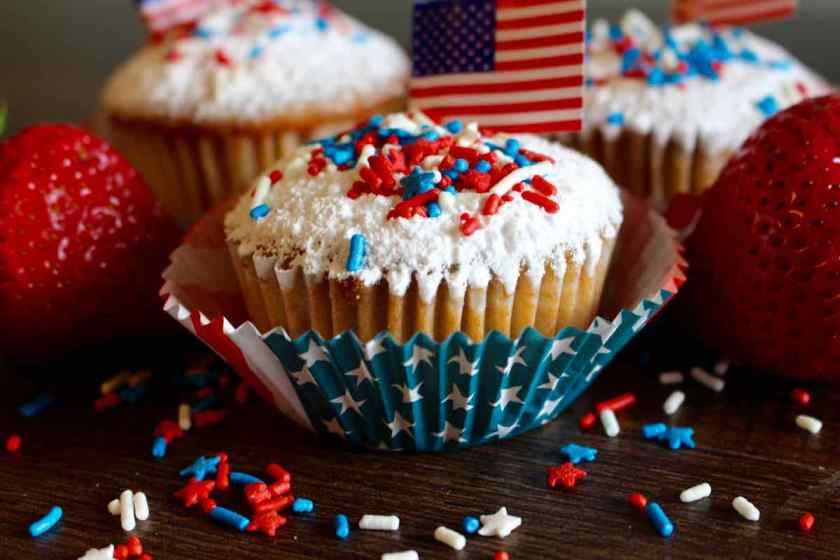Closeup of Strawberry Cupcakes Red White and Blue with American Flag