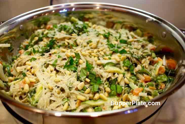 Vegetable Linguine Primavera in a serving platter