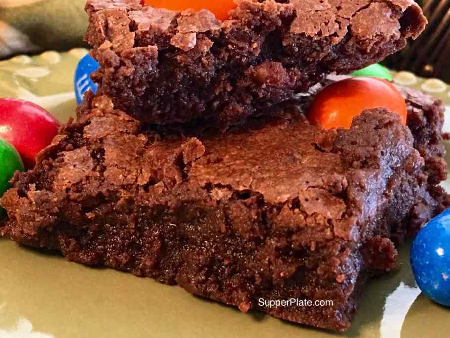 Ooey Gooey Brownies with peanut M&Ms