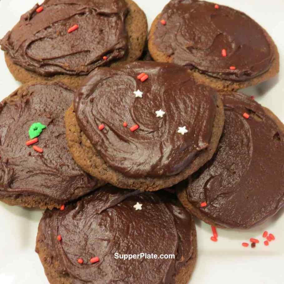 Soft Chocolate Drop Cookies Close up