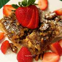 Cinnamon French Toast Bake on plate with berries