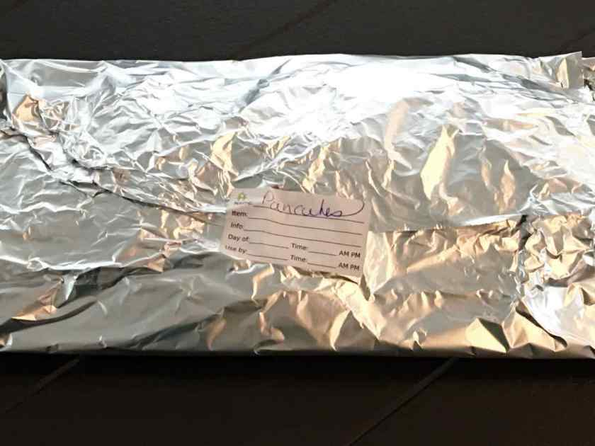 Pancakes wrapped in foil for freezing