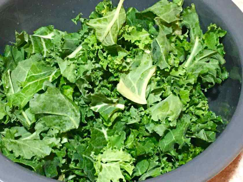 Kale in a bowl without any dressing