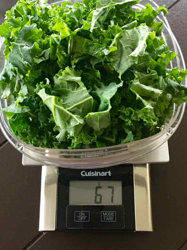 Weighing the Kale to 67 grams