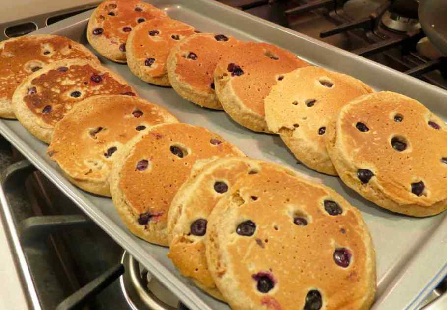 Blueberry pancakes on a cookie sheet