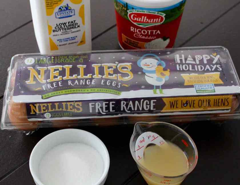 ingredients of buttermilk ricotta eggs sugar and lemon juice