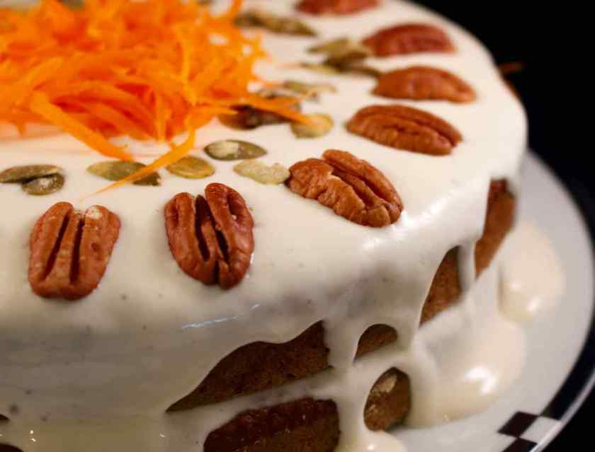 Close up of the finished Carrot Applesauce Cake