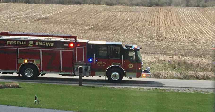 Fire truck going down the road