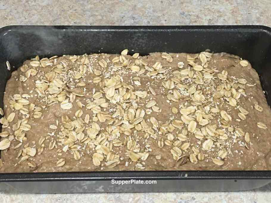 Bread batter in baking pan before going into the oven