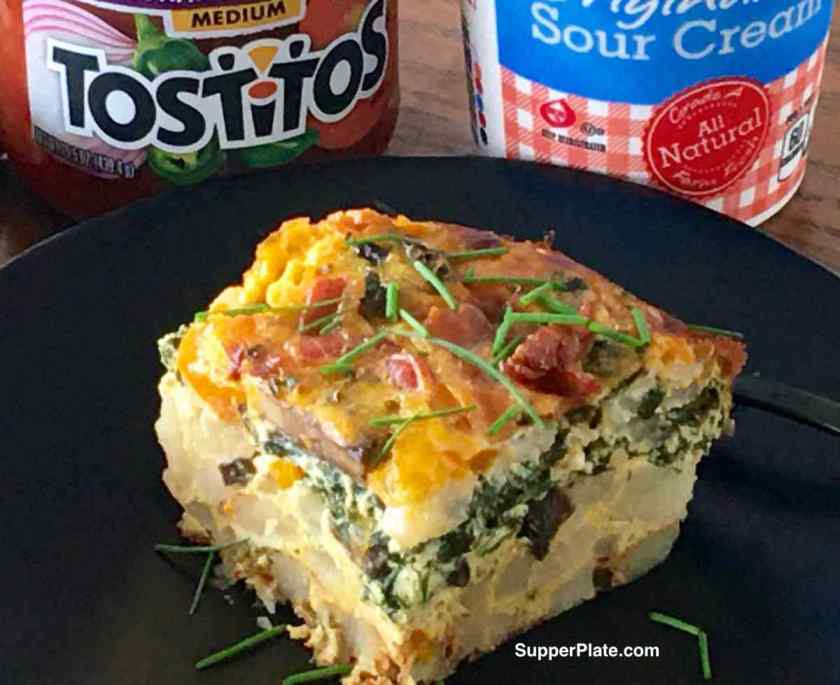 Breakfast Casserole with Bacon with salsa and sour cream containers