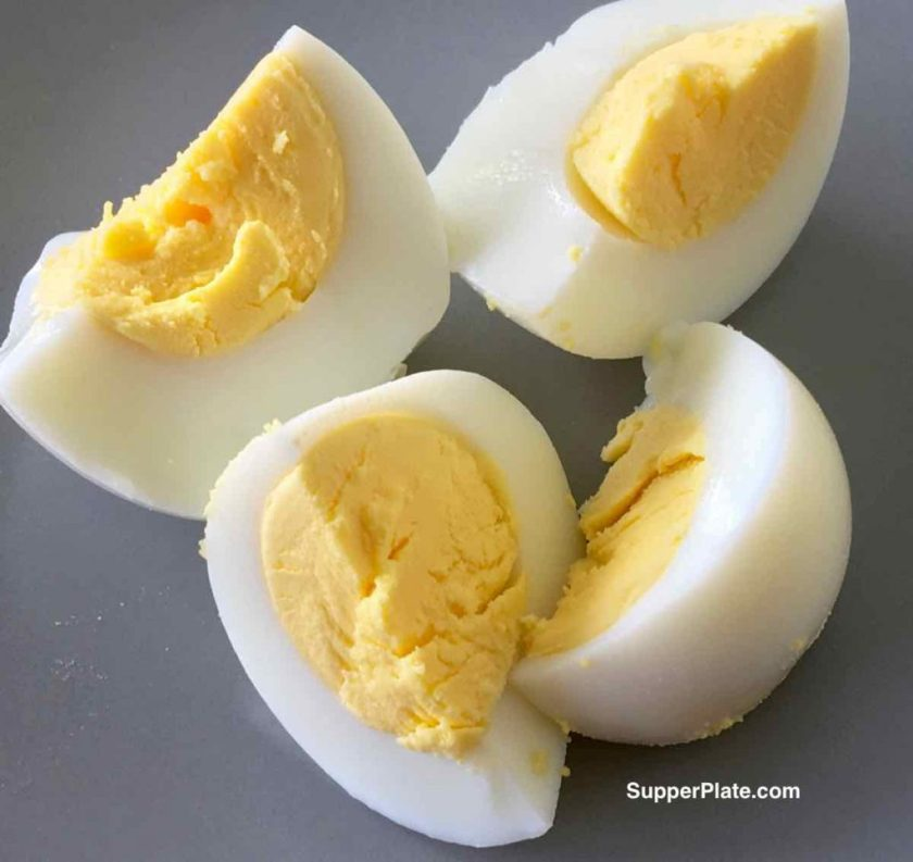Hardboiled egg cut into four pieces