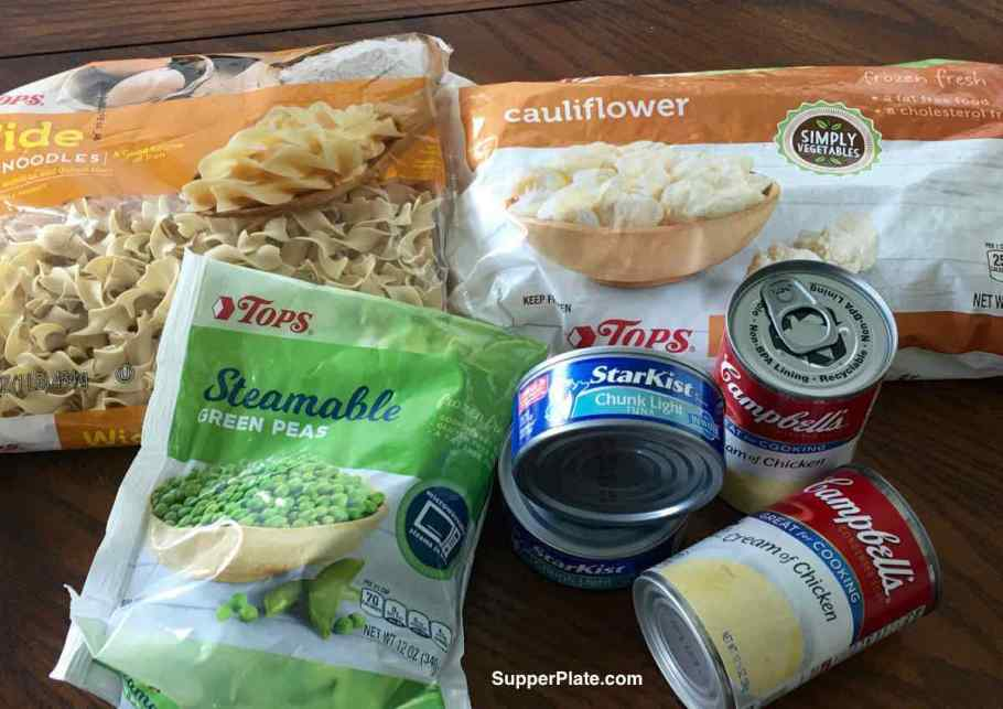 Ingredients of noodles, cauliflower, peas, tuna and condensed soup