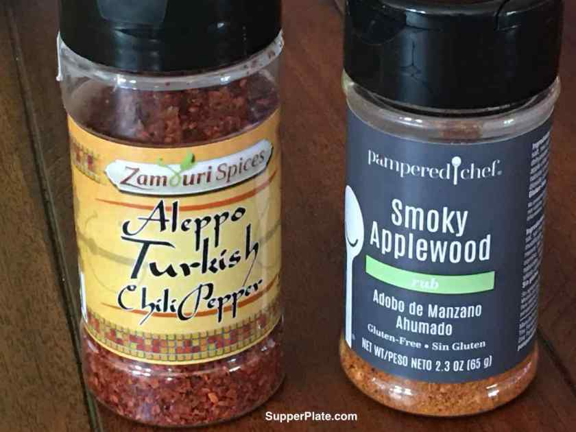 Bottles of Aleppo Turkish Chili Pepper and Smoky Applewood