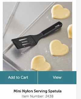 Mini Nylon Serving Spatula on a cooking pan with heart cookies