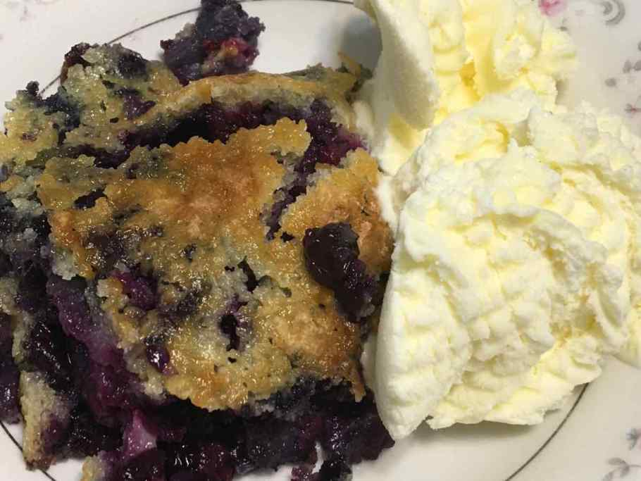 Blueberry Cobbler with vanilla ice cream in a bowl