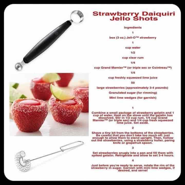 Strawberry daiquiri jello shots recipe