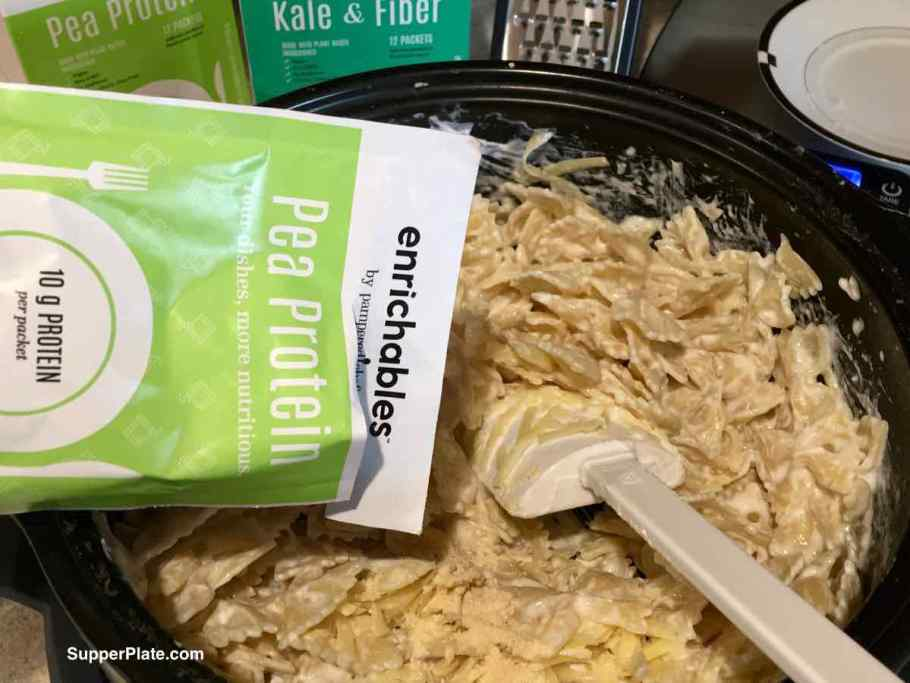 enrichables package of protein being added to pasta