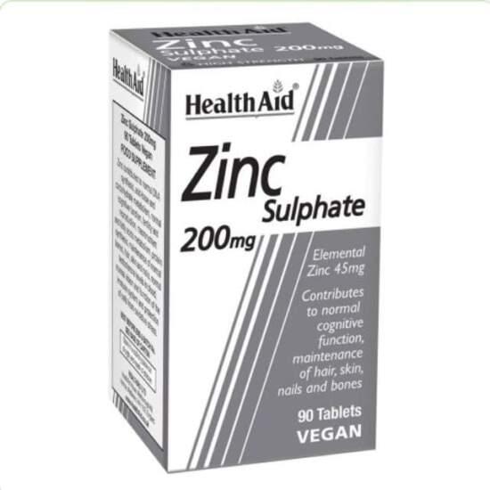 HealthAid Zinc Sulphate 200mg (45mg elemental Zinc) - 90 Tabs
