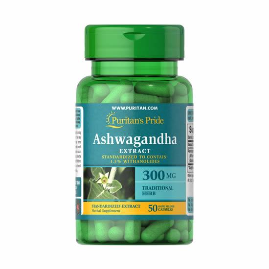 Puritan's Pride Ashwagandha Standardized Extract 300 mg - 50 Caps