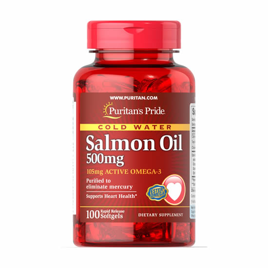 Puritan's Pride Omega-3 Salmon Oil 500 mg (105 mg Active Omega-3) - 100 Softgels