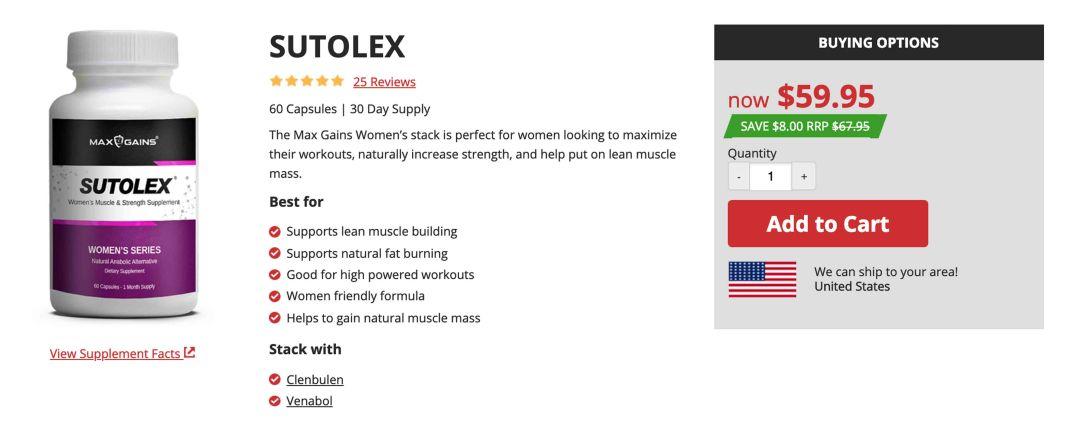 Max Gains Sutolex Womens Supplement