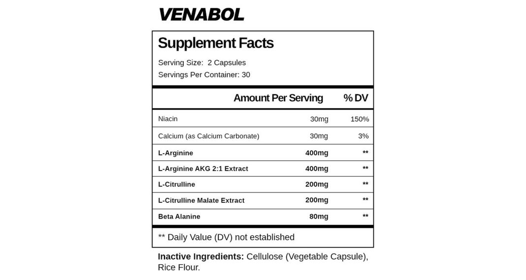 Max Gains Venabol Ingredients